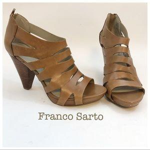 Franco Sarto Open Toe Heels Tan Sandals Size 9